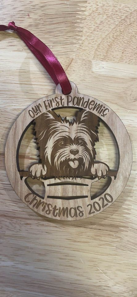 Our First Pandemic Yorkie 2020 Laser Cut Wooden Ornament