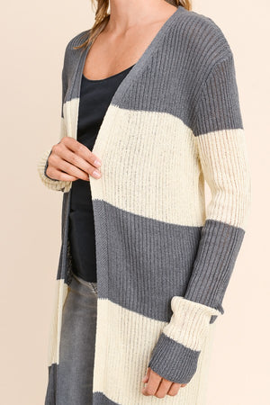 Cora Ribbed Long Sleeve Gray/Taupe Stripe Open Cardigan