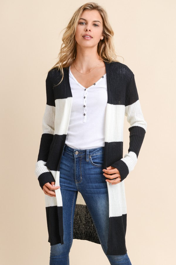 Cora Ribbed Long Sleeve Black/White Stripe Open Cardigan