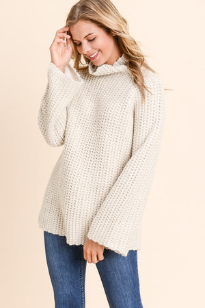 Marie Wide High Neck with Twiddled Detail Beige Sweater