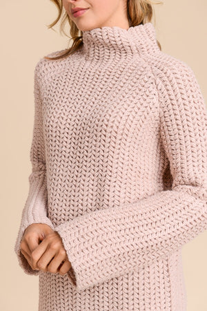 Marie Wide High Neck with Twiddled Detail Mauve Sweater