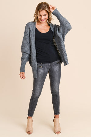 Molly Loose Fit with Sleeve Detail Charcoal Cardigan