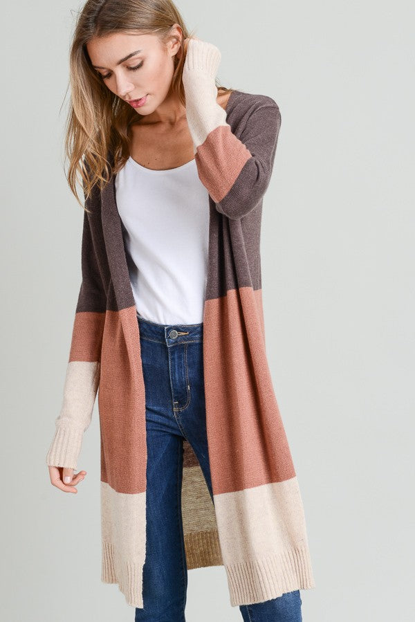 Kendall Color Block Long Sleeve Open Cardigan