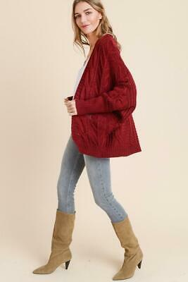 Molly Loose Fit with Sleeve Detail Burgundy Cardigan