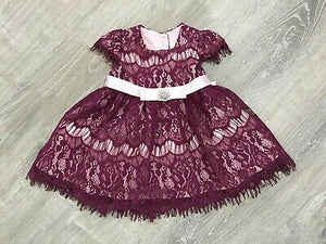 NEW RARE EDITIONS Baby Girl Dress, Burgundy/Pink