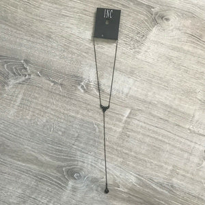 NWT INC International Concepts Black Tone Jet Pave Lariat Necklace