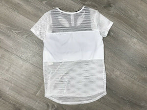 NWT Ideology Big Girls Layered-Look Mesh Top, Bright White Sz. M