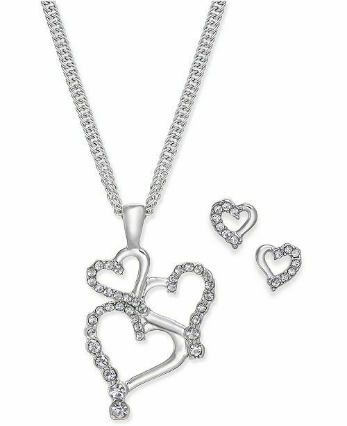 NWT CHARTER CLUB Silver Tone Pave Heart Pendant Rhodium Necklace And Earring Set