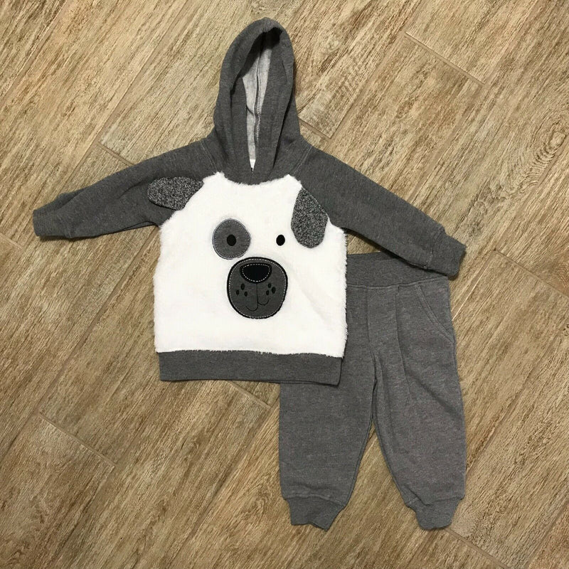 NEW Kids Headquarters Baby Boys 2 Pc. Faux Fur Dog Hoodie & Jogger Pants, Sz 12M