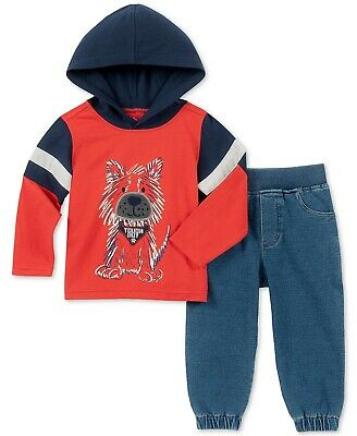 NEW Kids Headquarters Baby Boys Dog Print Hoodie & Denim Jogger Pants Set