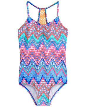 NWT Summer Crush One Piece Crochet-Back Printed Swimsuit, Sz. 10