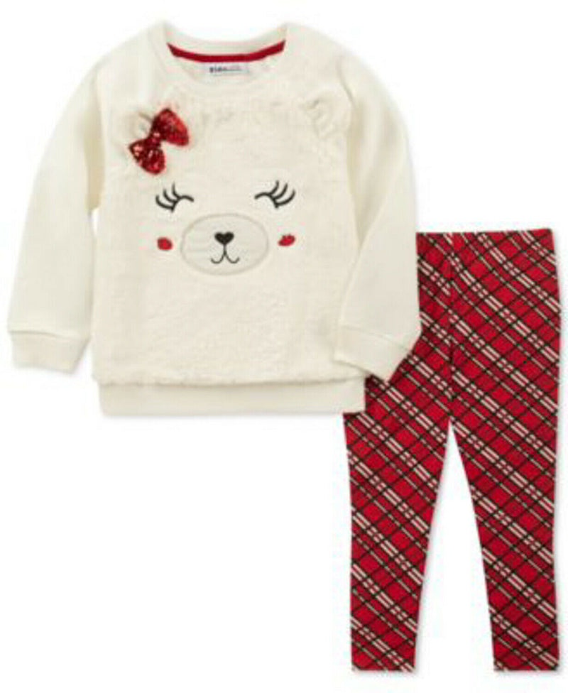 NEW Kids Headquarters Baby Girls 2 Piece Faux-Fur Bear Top and Leggings Set