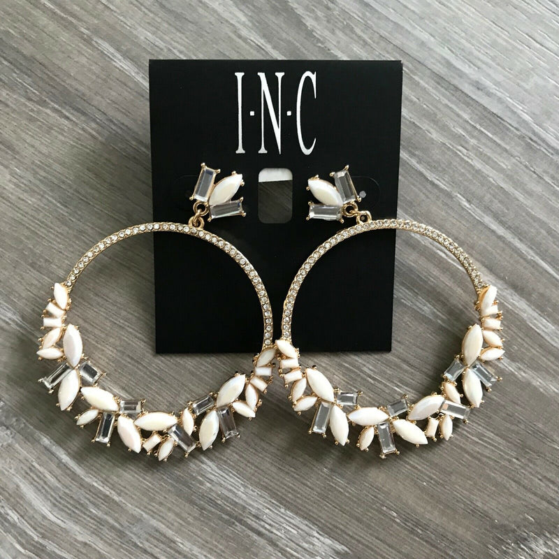 NEW INC International Concepts Gold Tone Glass Stone & Crystal Hoop Earrings
