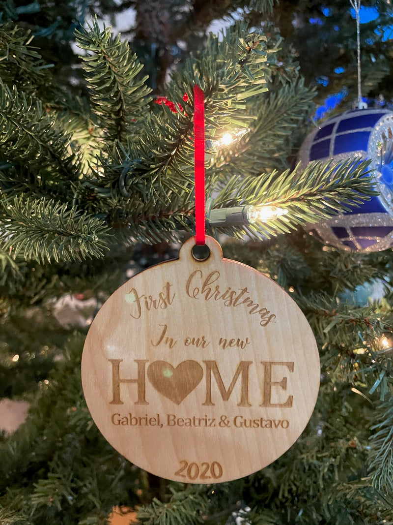 Personalized First Christmas in our New Home 2020 Laser Cut Wooden ornament