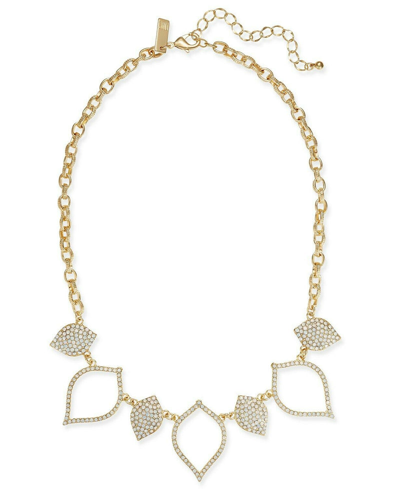 NWT INC International Concepts Gold Tone White Stone Statement Necklace
