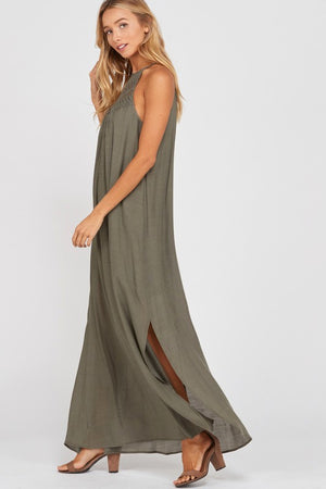 Alexa Lace Motif Sleeveless Halter Maxi Dress
