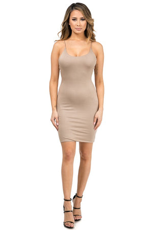 Dallas Double Layered Nude Tank Dress