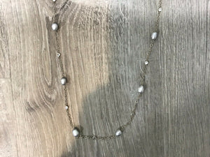 NEW Lauren Ralph Lauren Silver Tone Imitation Pearl Gray Strand Necklace