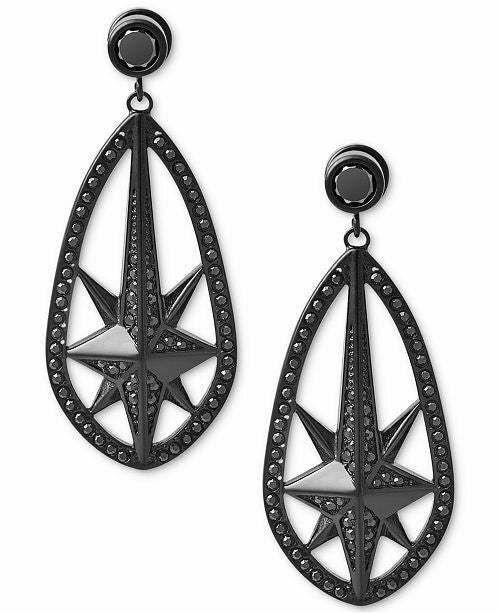 NEW MICHAEL KORS Black Ion-Plated Starburst Pavé Drop Earrings