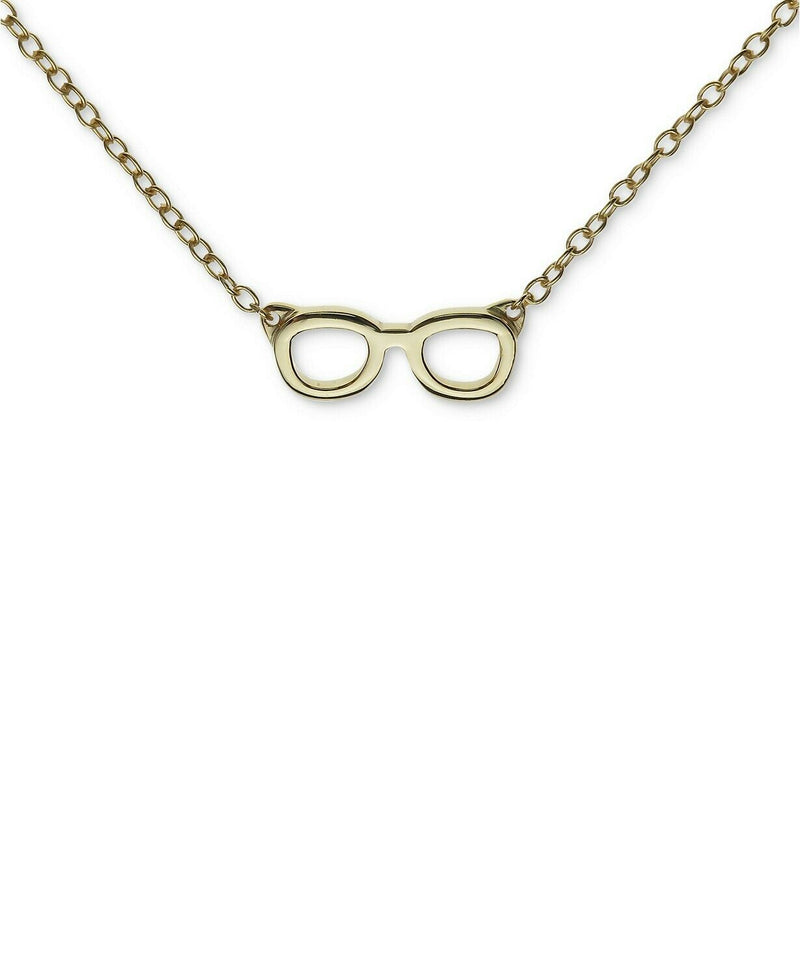 Unwritten Novelty Glasses Pendant Necklace in Gold Flashed Sterling Silver