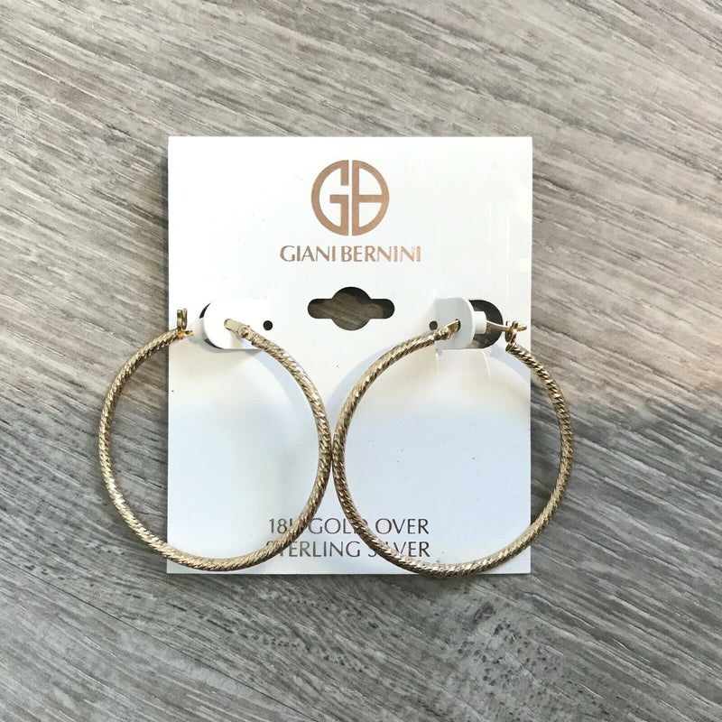 NEW Giani Bernini 18k Gold over Sterling Silver Textured Large Hoop Earrings