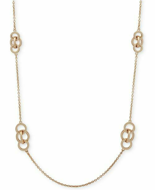 "Anne Klein Gold Tone Interlinking Circles 42"" Necklace"
