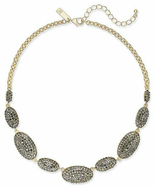 NWT INC International Concepts Gold Tone Pave Oval Statement Necklace
