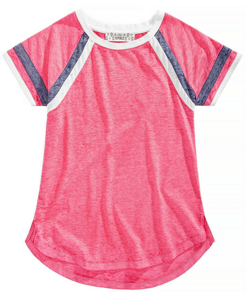 NWT Pink Republic Big Girls Striped-Sleeve Raglan T-Shirt, Sz. M