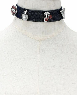 NIB GUESS Silver Tone Interchangeable Pave Pins Denim Choker Necklace
