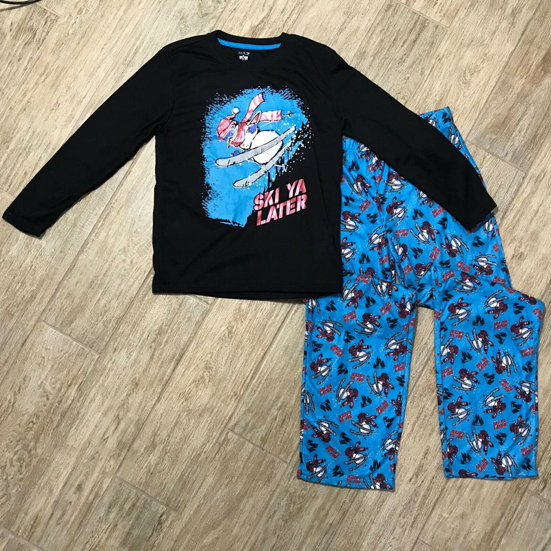 NEW Max & Olivia Big Boys Ski Ya Later Pajama Top and Pant Set, Sz. L