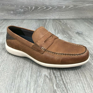 NIB ROCKPORT Men's Aiden Penny Loafers, Caramel Sz. 9W