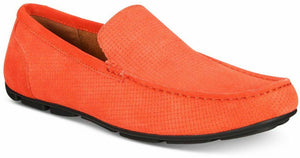 NIB ALFANI Men's Kendric Textured Leather Drivers, Orange Sz. 11