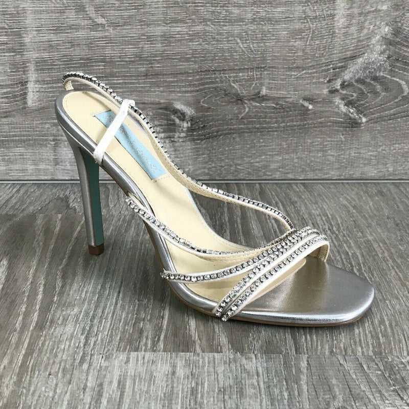 NIB $129 Blue by Betsey Johnson Aces Evening Sandals, Silver 6.5US