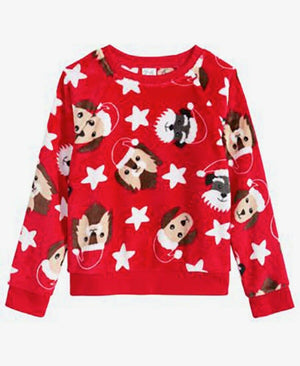 NEW EVY OF CALIFORNIA Big Girls Doggy Christmas Pullover, Sz. 4, 5, 6, 6X