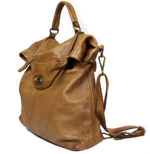 NEW A&B Vintage Italian Soft Washed Leather Backpack Convertible Crossbody Bag