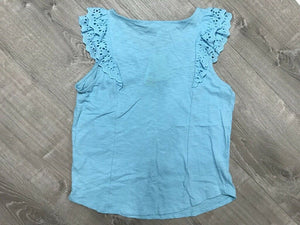 NEW Pink Republic Girls Ruffle Sleeve Cotton Top, Blue Sz XL