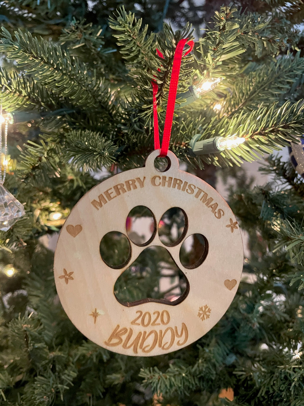 Personalized Dog's Merry Christmas 2020 Laser Cut Paw Wooden ornament