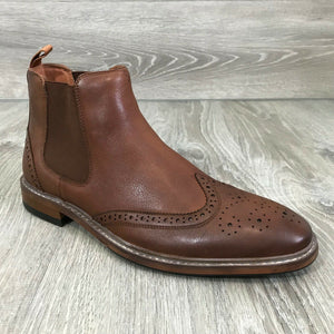 NIB $130 FLORSHEIM Men's Streets Wingtip Gore Boots, Saddle Tan Sz. 9.5