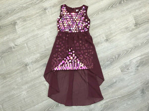 NWT Rare Editions Big Girls Sequin Overlay Party Dress, Burgundy Sz. 14, 16