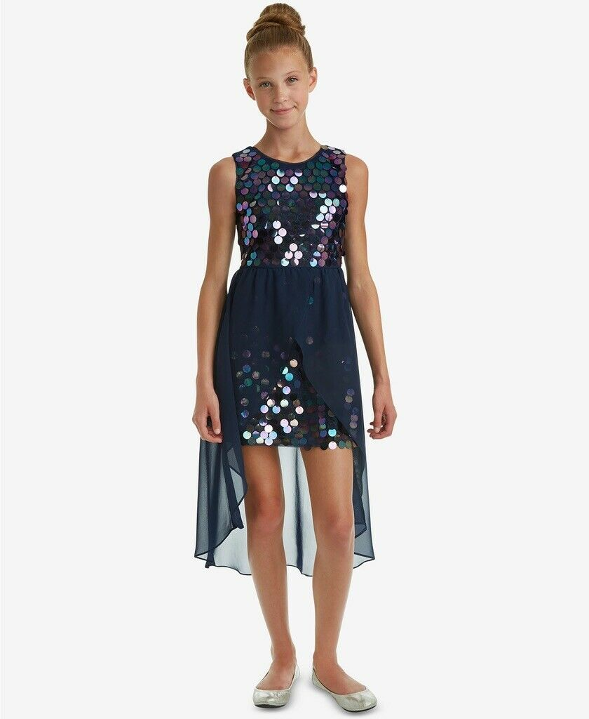 NWT Rare Editions Big Girls Sequin Overlay Party Dress, Blue Sz. 14