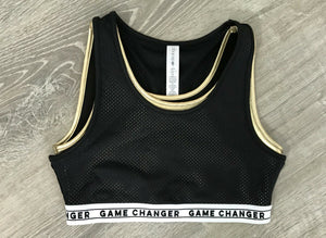 NEW Ideology Game Changer Mesh Sports Bra, Gold Sz M, L, XL