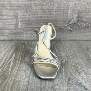 NIB $129 Blue by Betsey Johnson Aces Evening Sandals, Silver Multiple Sizes