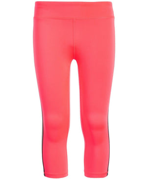 NWT Ideology Big Girls Striped Sides Capri Leggings, Flamingo Pink Sz. M