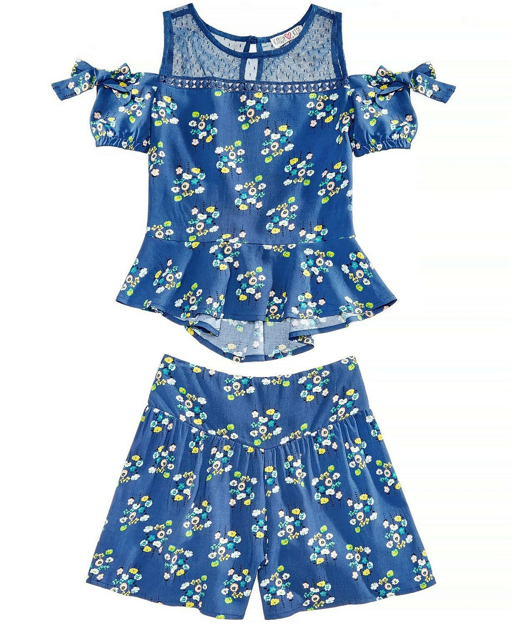 NWT Kandy Kiss Big Girls 2 Piece Floral-Print Top and Shorts Set, Sz. L