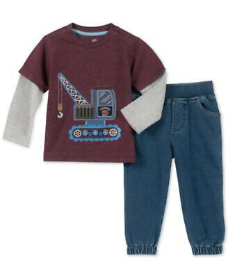 NEW Kids Headquarters Baby Boys Layered-Look T-Shirt & Jeans Set