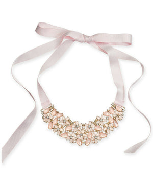 NEW INC International Concepts Stone & Crystal Flower Ribbon Necklace