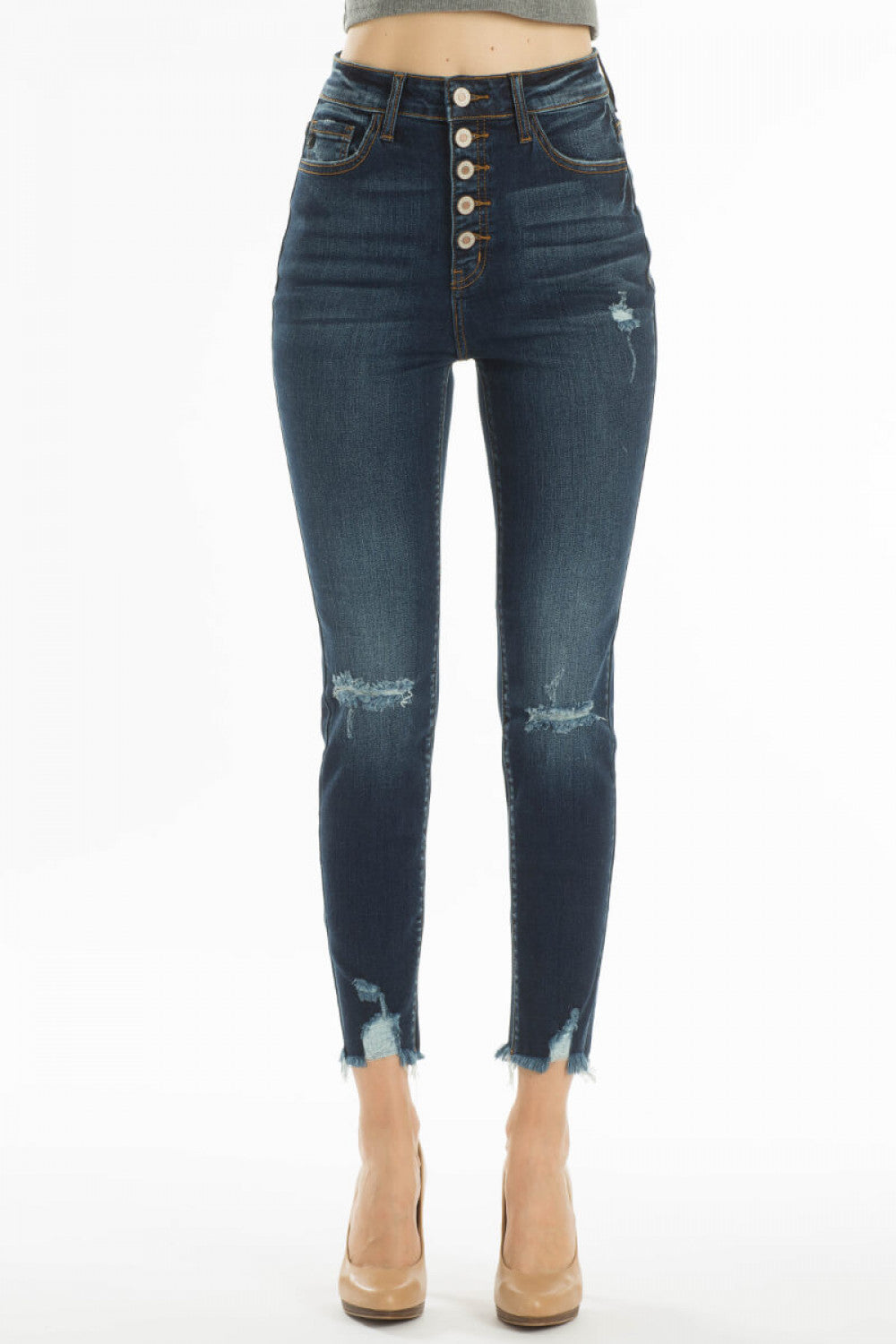Nikki Distressed Ankle Skinny Jeans