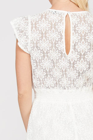 Leila Cotton Lace Bow Front Romper