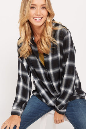NEW Landry Twist Front Button Down Plaid Shirt