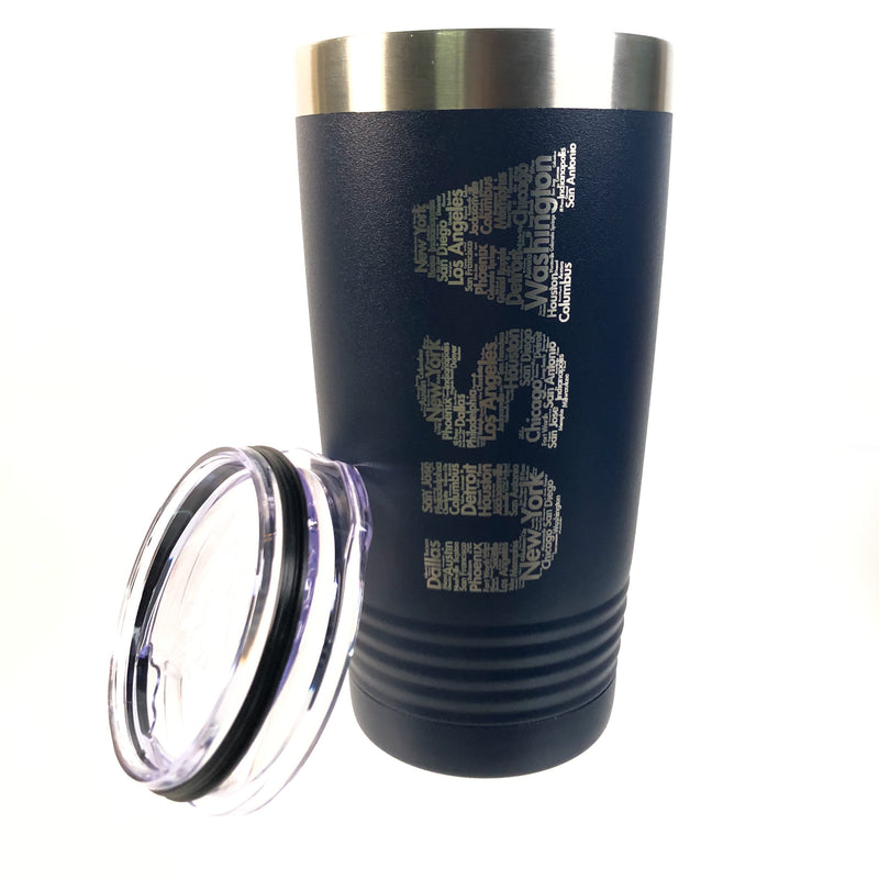 NEW Powder Coated Stainless Steel USA Engraved Travel Tumbler